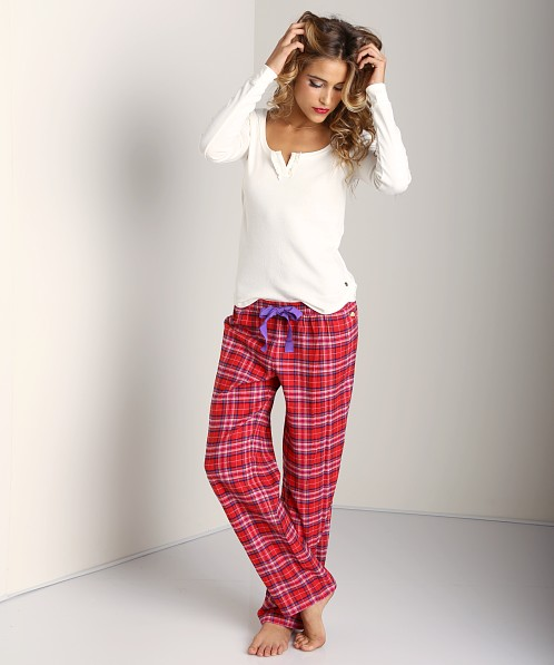 Juicy Couture Flannel PJ Henley Set Plaid