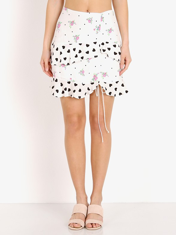 For Love & Lemons Lucia Mini Skirt White