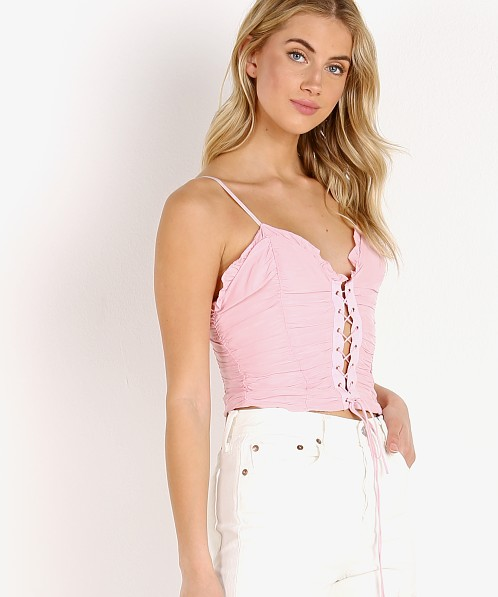 For Love & Lemons Palmetto Corset Cami Pink