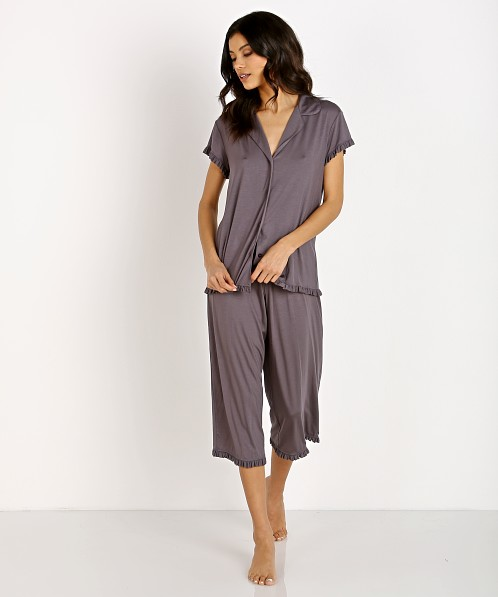 Eberjey Ruthie Short Sleeve Cropped Pant Ruffle PJ Set Rabbit