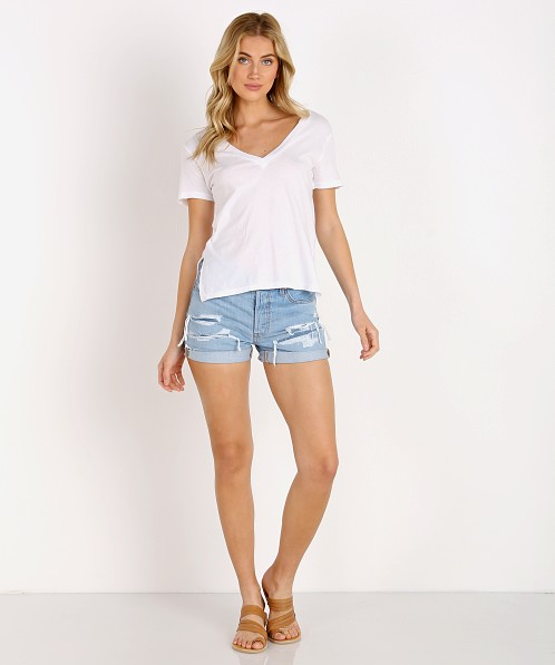 LNA Clothing Reese Essential Cotton V Neck Tee White