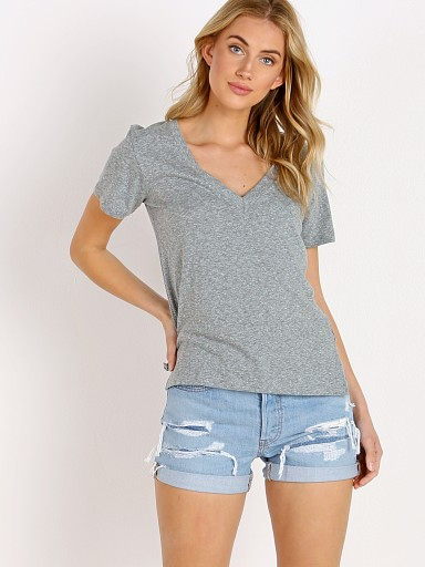 LNA Clothing Reese Essential Cotton V Neck Tee Heather Grey