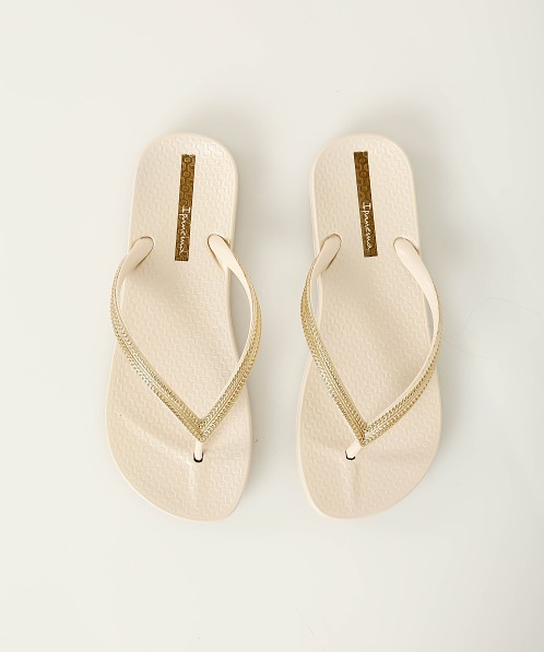 ed6341a4c2c0 Ipanema Ana Metallic Flip Flops Beige + Gold 82526-23257 - Free Shipping at  Largo Drive