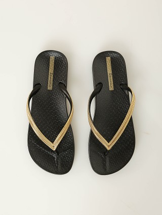 Ipanema Ana Metallic Flip Flops Black + Gold