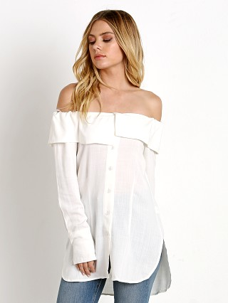 Model in white Stone Cold Fox Poppy Blouse