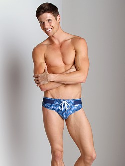 2xist Herringbone Rio Swim Brief Estate Blue