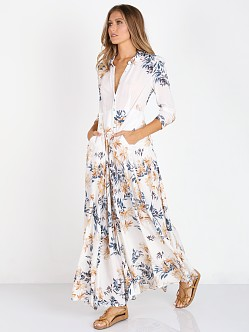 Free People Voile After the Storm Maxi Shirtdress Ivory Ivory Co