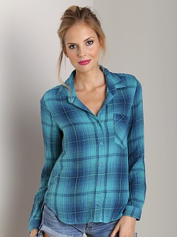 Bella Dahl Pocket Button Down Azure Plaid