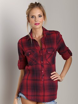 Bella Dahl Pocket Popover Berry Plaid