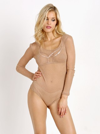 SKIVVIES by For Love & Lemons Sparkle Mesh Bodysuit Rose Gold
