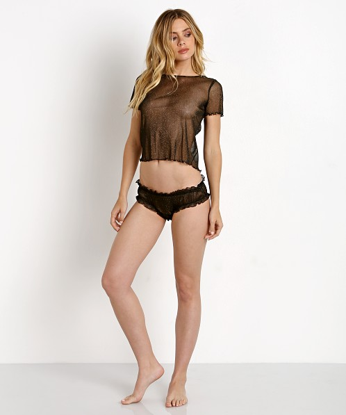 SKIVVIES by For Love & Lemons Sparkle Mesh Tee Black Glitter