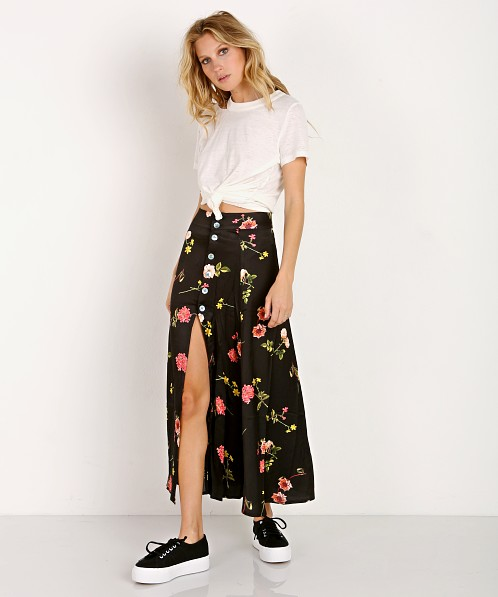 ca14fe9855f61d Capulet Madie Midi Skirt Black Floral S107 - Free Shipping at Largo Drive