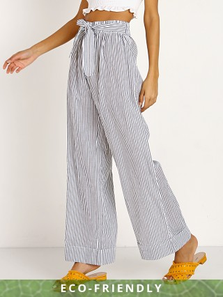 Model in stripe Mara Hoffman Sasha Pants