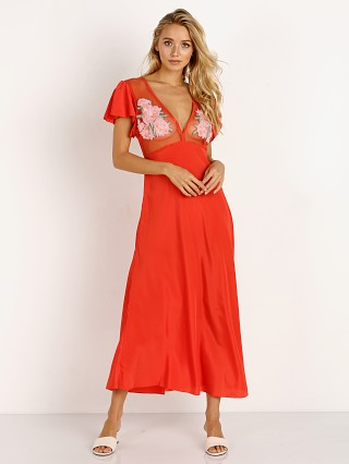 Model in spice Cleobella Crush Midi Dress
