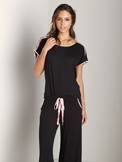 Fleur't All of Me Silk Trimmed Top Black/Blush