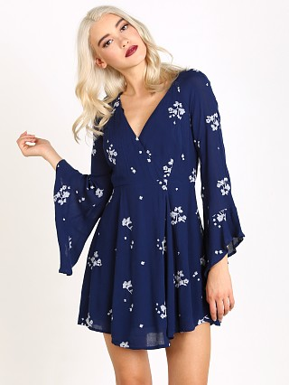 Free People Jasmine Embroidered Mini Dress Marine
