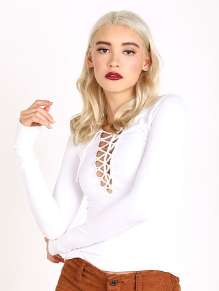 Free People Seamless Lace Up Layering Top White
