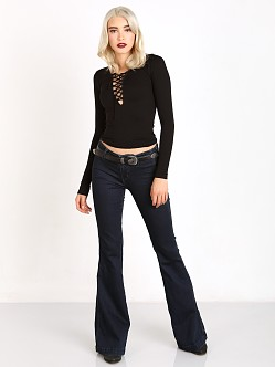 Free People Seamless Lace Up Layering Top Black