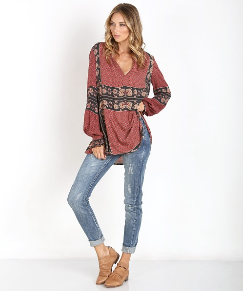 Free People Dobby Changing Times Tunic Brick Combo