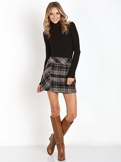 Free People Zip it Plaid Mini Skirt Black