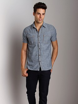 Nudie Jeans Ellis Org Salt N Pepper Short Sleeve Shirt