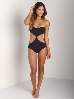 Marysia Cut Out Scalloped Underwire One Piece Black