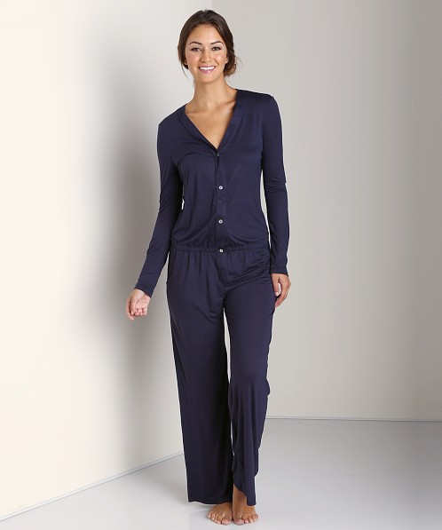 Eberjey Jessie's Girl Long Sleeve Jumpsuit Deep Blue