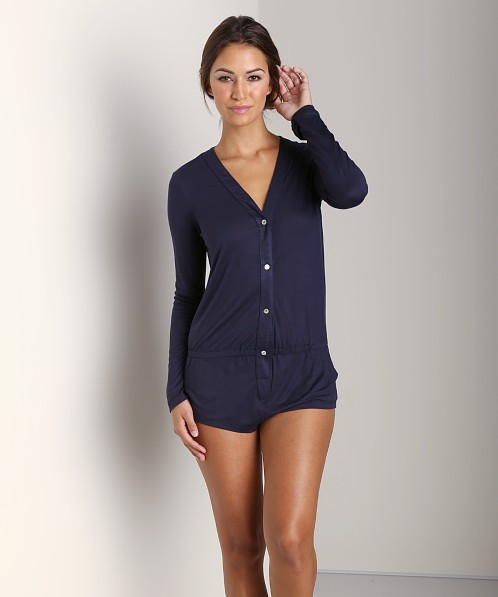 Eberjey Jessie's Girl Long Sleeve Teddy Deep Blue