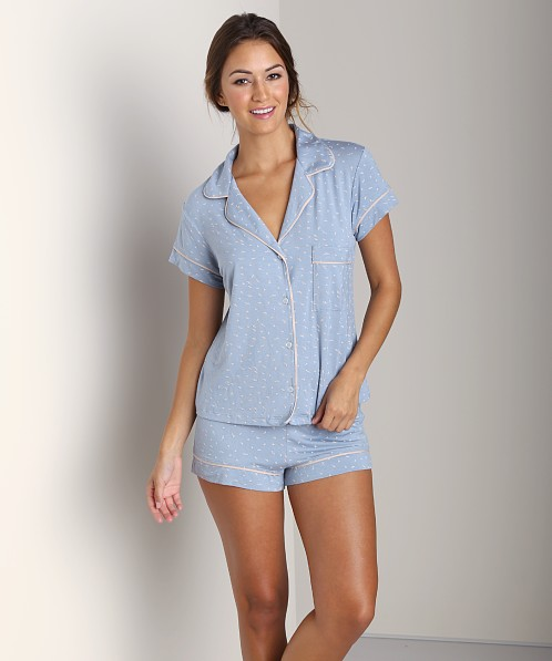 Eberjey Free Bird Short PJ Set Wedgewood/Blush