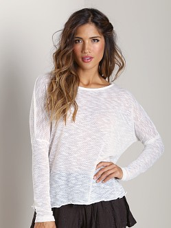Tylie Malibu Mesh Knit Split Back Sweater White