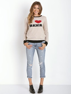 For Love & Lemons KNITZ I Heart Beer Sweater Ivory