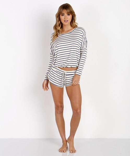 Eberjey Lounge Stripes Slouchy Tee Ivory/Navy