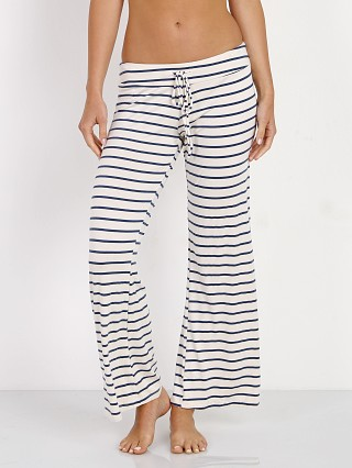 Eberjey Lounge Stripes Wide Leg Pant Ivory/Navy