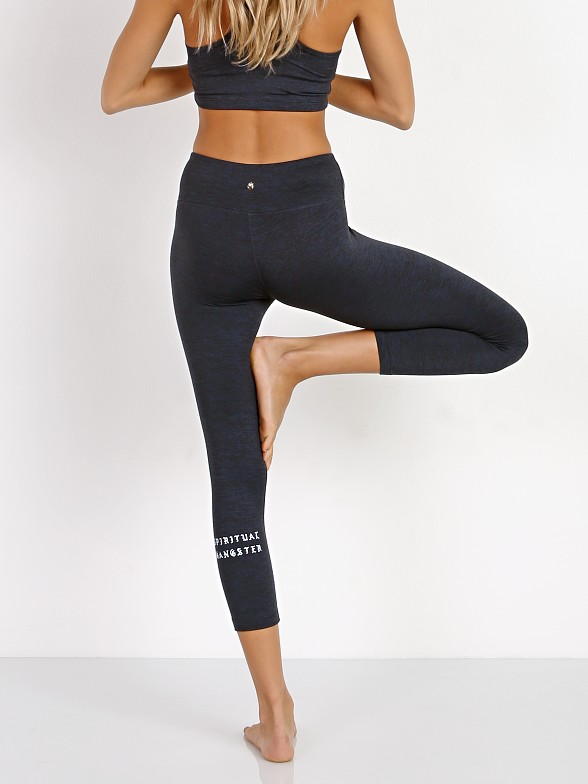 Spiritual Gangster Old English Power Crop Legging Navy