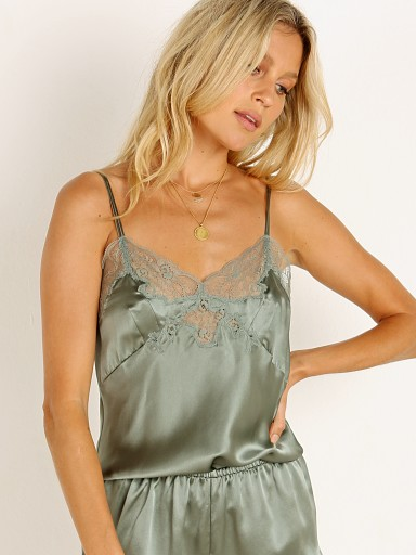 Model in olive Only Hearts Silk Charmeuse Cami