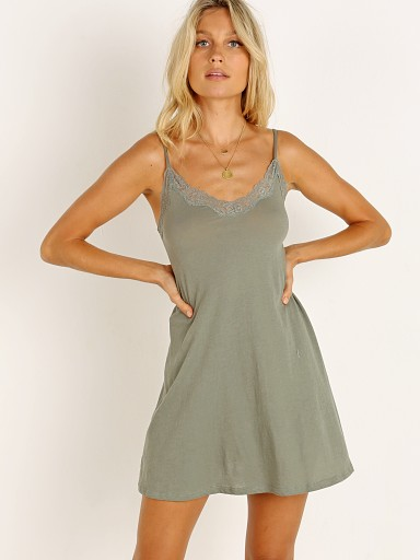 Model in olive Only Hearts Organic Cotton Lace Trimmed Chemise