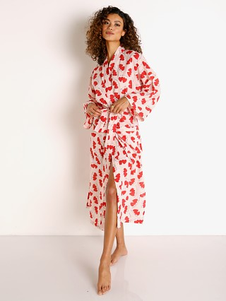 Model in lovers Only Hearts Sleep to Dream Unisex Kimono Robe