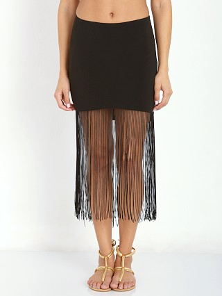 Line & Dot Gloss Fringe Skirt Black