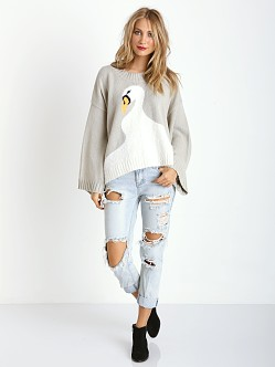 WILDFOX Swan Dive Chunky Oversized Sweater Morning Mist