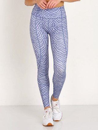 Model in blue zebra Varley Bedford Legging Tight