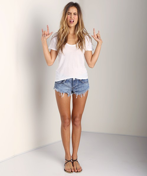 291 Venice Short Sleeve Uneven Tee White