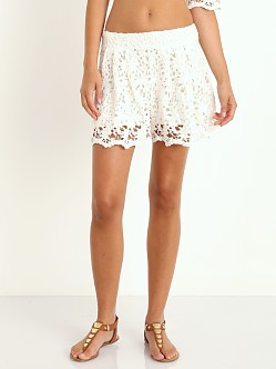 Nightcap Daisy Crochet Flare Shorts White