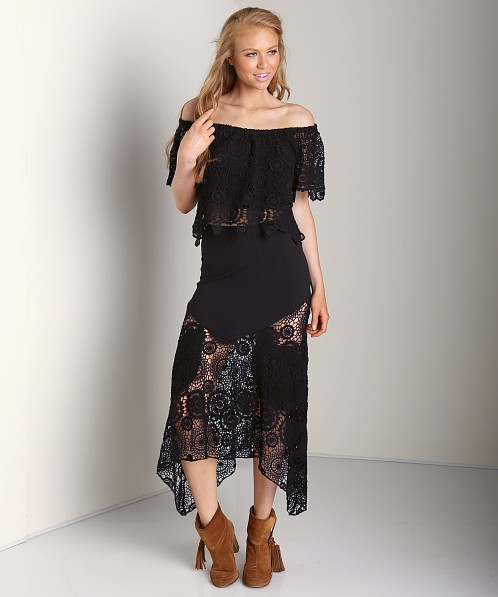 Nightcap Maude Crochet Skirt Black