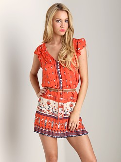Spell Desert Wanderer Shift Dress Sunset Red Print