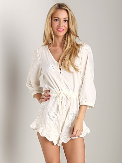 Spell Indian Summer Anglaise Playsuit Off White