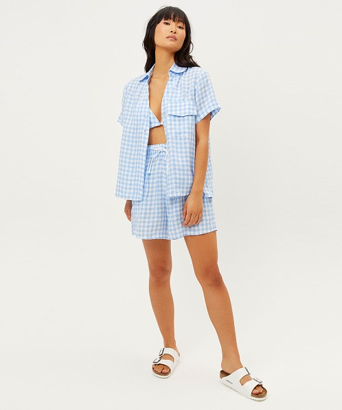 Frankie's Bikinis Lou Gingham Button Down Bluebell