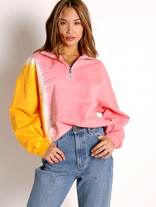 Model in kumquat & peony Levi's Yesterday's Sweatshirt
