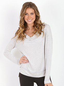 Beyond Yoga Shifted Pullover Light Heather Stripe