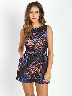 Mara Hoffman Romper Rainbow Palm Black