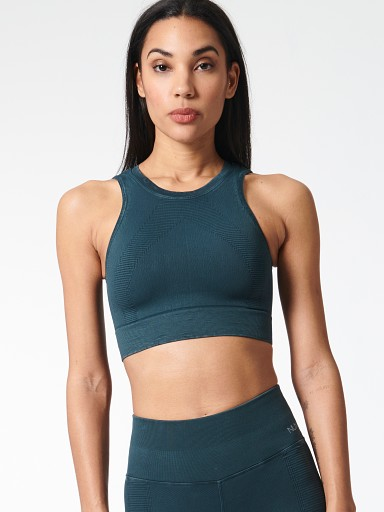 Model in sierra NUX One by One Crop Sports Bras